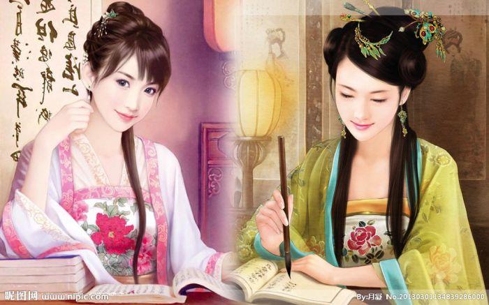 手绘古装美女壁纸 古代著名美女手绘图片